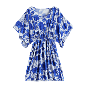 Vintage Porcelain Print Loose Midi Dress - BLUE AND WHITE ONE SIZE(FIT SIZE XS TO M)