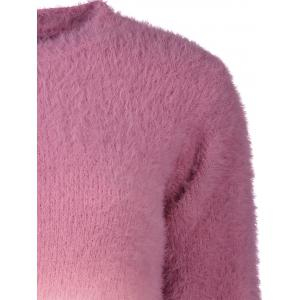 Ombre High-Low Fuzzy Sweater - ROSE RED ONE SIZE