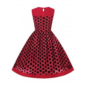 Summer Retro Polka Dot Mesh Yarn Insert Dress - RED 2XL