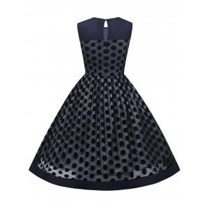 Summer Retro Polka Dot Mesh Yarn Insert Dress - PURPLISH BLUE 2XL