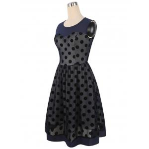 Summer Retro Polka Dot Mesh Yarn Insert Dress - PURPLISH BLUE XL