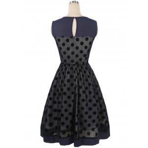 Summer Retro Polka Dot Mesh Yarn Insert Dress -