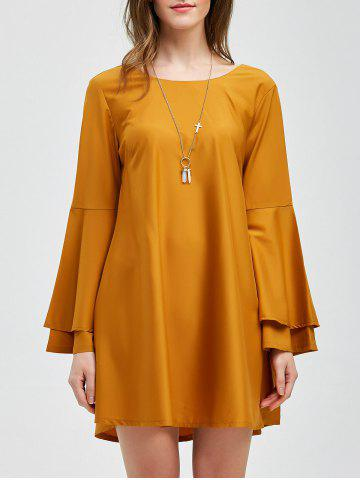 Lace-Up Layered Sleeve Smock Dress - Yellow Ocher - M