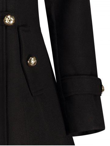 Chic Double-Breasted Woolen Long Coat - XL BLACK Mobile
