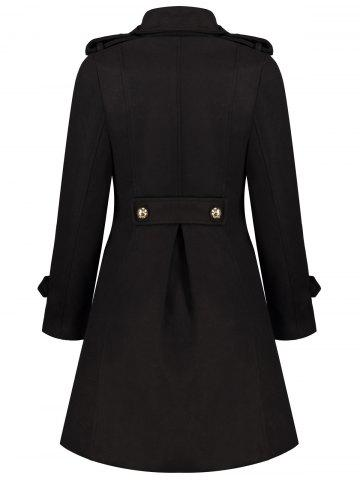 Shops Double-Breasted Woolen Long Coat - XL BLACK Mobile