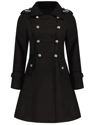 Fashion Double-Breasted Woolen Long Coat - M BLACK Mobile