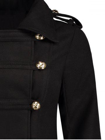 Chic Double-Breasted Woolen Long Coat - M BLACK Mobile