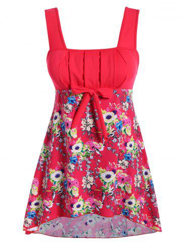 Best Floral Print Pleated Plus Size Swimwear RED 3XL