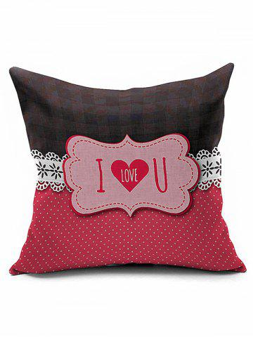 Outfit I Love U Letters Heart Valentine Pillow Case - RED  Mobile