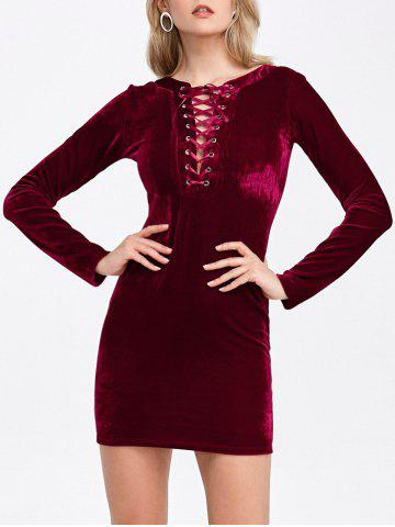 Velvet Lace-Up Long Sleeve Bodycon Cocktail Dress - Deep Red - S