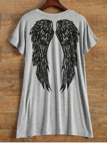 Chic Short Sleeve Logo and Wing Print T-Shirt GRAY ONE SIZE(FIT SIZE XS TO M)