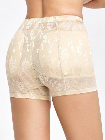Fashion Floral See-Through Padded Boyshorts - L COMPLEXION Mobile