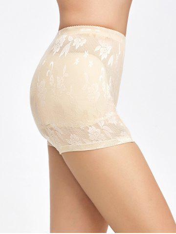 Unique Floral See-Through Padded Boyshorts - L COMPLEXION Mobile