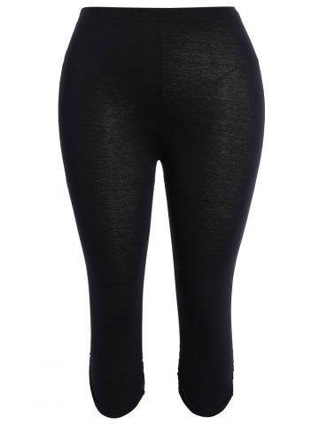 New Plus Size Supper Stretchy Ruched Capri Sporty Pants BLACK 3XL