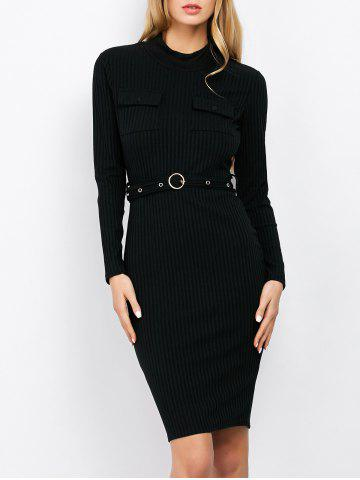 Online Mock Neck Long Sleeve Bodycon Office Dress With Belt
