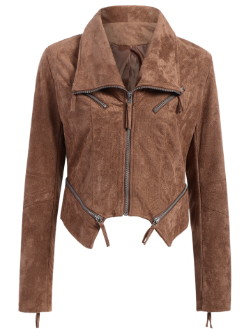 Affordable Asymmetric Faux Suede Short Bomber Jacket - L BROWN Mobile