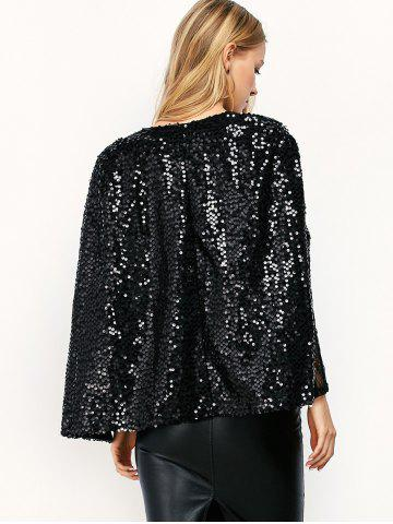 Cheap Open Front Sequin Cape Coat - M BLACK Mobile
