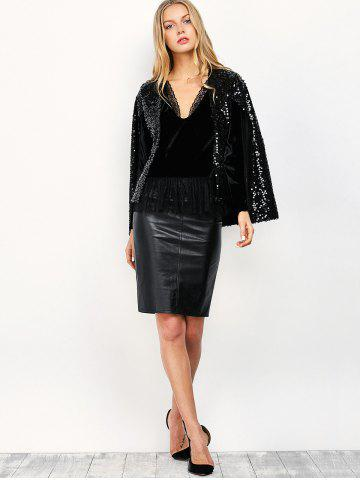 Affordable Open Front Sequin Cape Coat - M BLACK Mobile