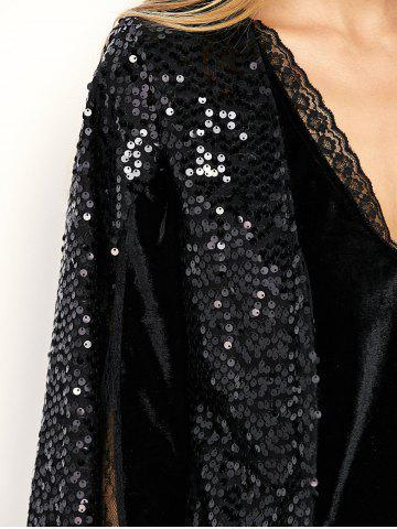 New Open Front Sequin Cape Coat - M BLACK Mobile