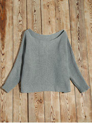 Discount Batwing Sleeve Asymmetric Sweater - L GRAY Mobile