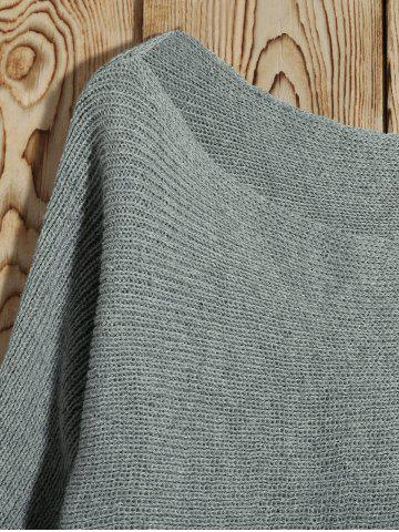 Buy Batwing Sleeve Asymmetric Sweater - M GRAY Mobile