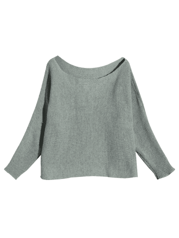 Buy Batwing Sleeve Asymmetric Sweater - S GRAY Mobile