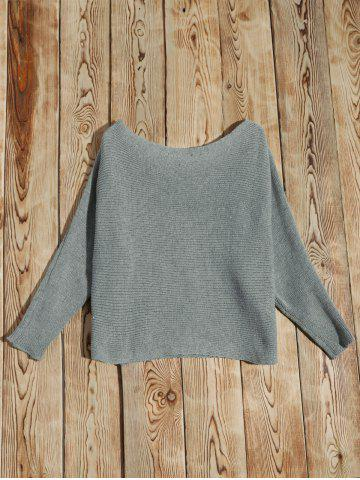 Trendy Batwing Sleeve Asymmetric Sweater - S GRAY Mobile
