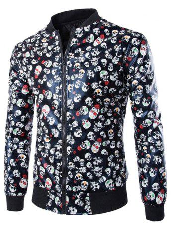Outfit Skull Print Zip Up Faux Leather Jacket