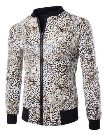 Hot Zip Up Faux Leather Leopard Jacket LEOPARD XL