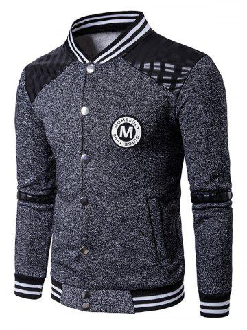 Outfit Patch Design PU Panel Button Up Jacket - 2XL DEEP GRAY Mobile