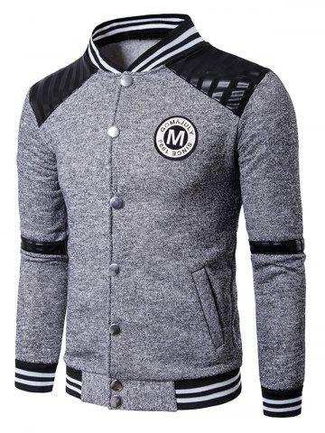 Affordable Patch Design PU Panel Button Up Jacket - 2XL LIGHT GRAY Mobile