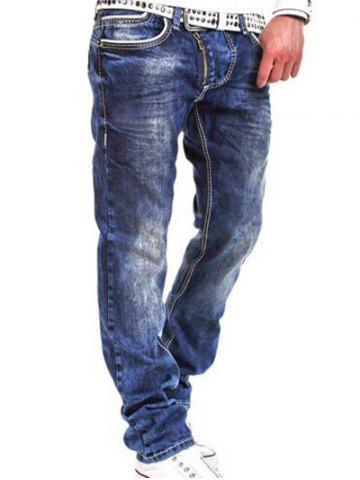 Oblique Zipper Fly Bleach Wash Jeans Bleu 32