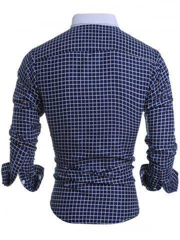 Affordable Long Sleeve Checked Button Down Casual Shirt - XL CADETBLUE Mobile