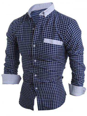 Discount Long Sleeve Checked Button Down Casual Shirt - XL CADETBLUE Mobile