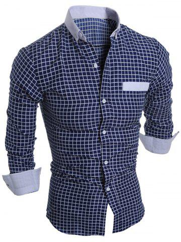 Discount Long Sleeve Checked Button Down Casual Shirt CADETBLUE L