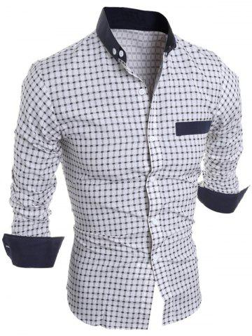 New Long Sleeve Checked Button Down Casual Shirt WHITE 2XL