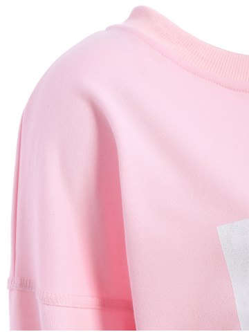 New Graphic Front Oversized Sweatshirt - XL PINK Mobile
