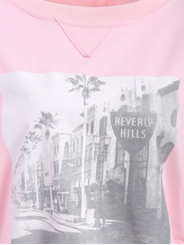 Sale Graphic Front Oversized Sweatshirt - XL PINK Mobile