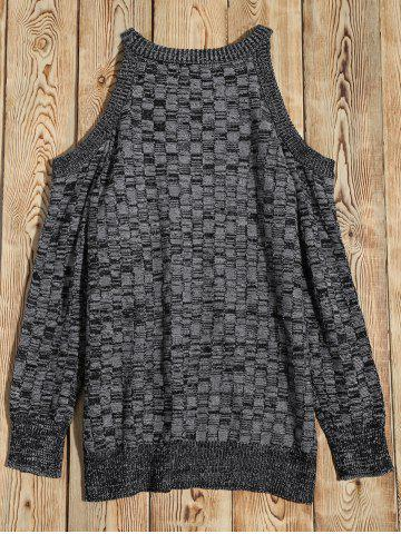 Shop Cold Shoulder Basket Weave Jumper - M GRAY Mobile