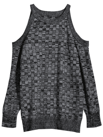Unique Cold Shoulder Basket Weave Jumper - M GRAY Mobile