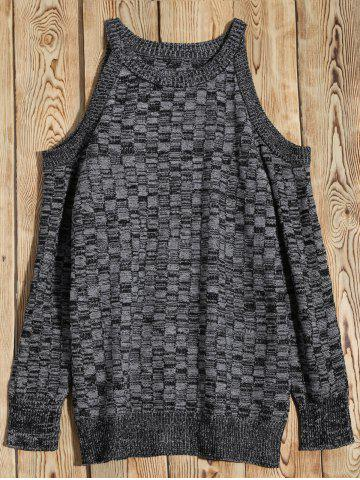 Trendy Cold Shoulder Basket Weave Jumper - M GRAY Mobile