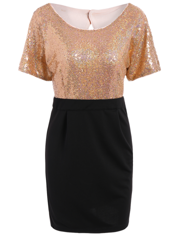 Sequins Two Tone Sheath Dress - Black And Pink - M