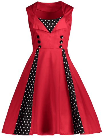 Best Polka Dot Retro Corset A Line Dress - S RED Mobile