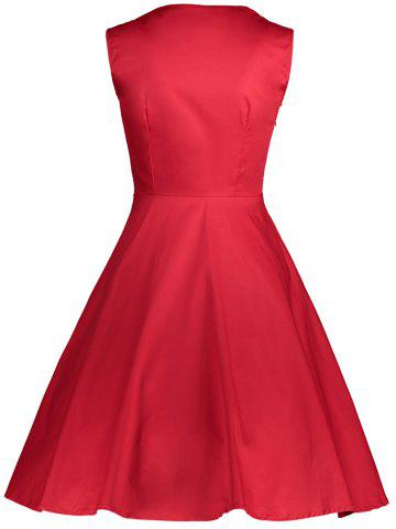Cheap Polka Dot Retro Corset A Line Dress - S RED Mobile