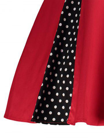 Discount Polka Dot Retro Corset A Line Dress - S RED Mobile