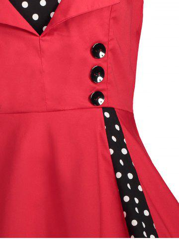 Online Polka Dot Retro Corset A Line Dress - S RED Mobile