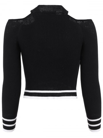 Trendy Cold Shoulder Cropped Jumper - XL BLACK Mobile