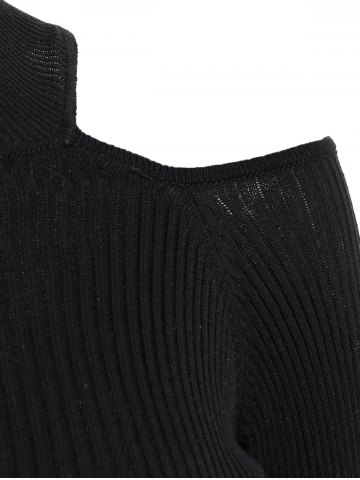 Shop Cold Shoulder Cropped Jumper - XL BLACK Mobile