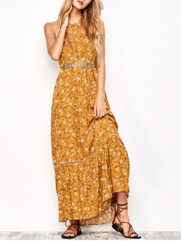 Unique Tiny Floral Maxi Halter Dress