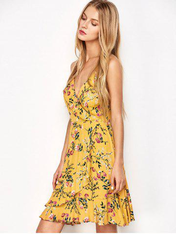 Discount Ruffled Cami Floral Skater Dress - L YELLOW Mobile